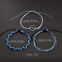 Wholesale handicraft bracelet resale online - European and American Vintage handicraft boutique sea wave naval wind hand woven three piece suit Bracelet free of freight