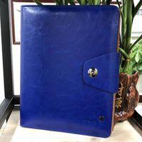 gündem hediye toptan satış-Yeni Deri Manyetik Bloknotlar Mavi / Kırmızı / Siyah Seyahat Günlüğü Gündem Lüks Ofis Okul Malzemeleri Dizüstü El Yapımı Kişisel Hediye Kırtasiye