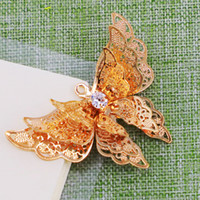 3D butterfly ornaments accessories gift pendant parts layers metal golden and silvery color delicate gold plated