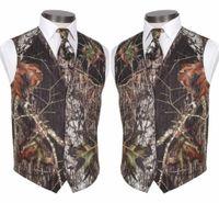 ingrosso dimagrimento cami-2019 Custom Made Modesto Camo Groom Gilet Rustico Wedding Vest Tronco lascia Primavera Camouflage Slim Fit Gilet da uomo 2 pezzi Set (Vest + Tie)