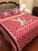 funda nórdica floral de algodón al por mayor-Gris Rosa Diseño floral Conjunto de ropa de cama Diseño de la marca Juego de cama Queen Modal Funda de edredón de algodón suave Funda de almohada Traje