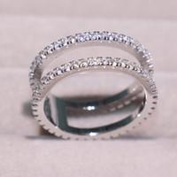 elmas sonsuzluğu toptan satış-Gerçek Infinity Köpüklü Lüks Takılar% 100 925 Gümüş Beyaz 5A cz Elmas Taşlar Promise Düğün Nişan Band Ring Hediye
