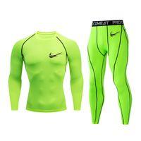 ingrosso vestiti da jogging-MMA tuta da jogging tuta sportiva tuta tinta unita pantaloni lunghi T-shirt palestra fitness sport vestiti stretti 2 pezzi / set