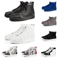 Wholesale sneakers size 47 for sale - Group buy 2020 designer shoes men women fashion spike sneakers black red white blue leather suede Graffiti flat bottoms luxury casual shoe size