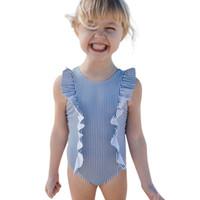 neues heißes bikini mädchen großhandel-Kleinkind Kinder Baby Mädchen Badeanzug Rüschen Badeanzug Bikini Striped Bademode Mädchen Kleidung 2019 neue Produkte heißer Verkauf