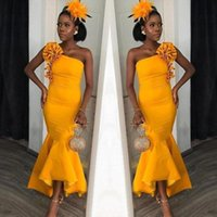 Wholesale hot party african dresses for sale - Group buy 2020 Hot African One Shoulder Hi Lo Mermaid Prom Dresses Flower Ruffles Ankle Length Eevning Gown Bridesmaid Dress Formal Party Wear BM1667