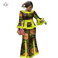 traditionelle röcke kleider großhandel-2019 New African Loose Kanga Kleider für Frauen Dashiki Traditional 100 Cotton Top Rock Set von 3 Stück Kleidung WY2718