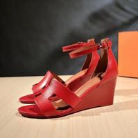 sandales chaudes achat en gros de-Summer hot women sandals ladies Talons hauts talons compensés chaussures de mode chaussures décontractées à plateforme à plateforme