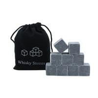 ingrosso borsa di whisky stones-Whisky Ice Stones 9 pezzi Bar Vino Ice Cube Cooler Con Borsa in velluto Whisky Rock Stone Set Bar Tool Regalo di Natale TTA1711