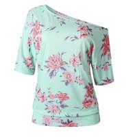mejores blusas de moda al por mayor-Best Selling Summer Fashion Impreso Diagonal Hombro Cuello redondo Blusa de manga corta Camiseta Moda Mujer Popular Tendencia Estilo jooyoo