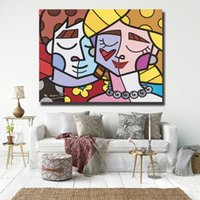Wholesale nude lovers paintings for sale - Group buy Dance Lovers Romero Modern Necklace Love Brazil Canvas Painting Wall Picture Poster And Print Decorative Home Decor