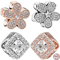 Wholesale panning for gold resale online - New Silver Shine CZ Flower Rose Gold Square Charms Beads Fit Reflexions Bracelet For Women PAN Jewelry