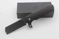 büyük sürüm toptan satış-Yüksek Kalite Salsh Büyük Flipper Katlama Bıçak Siyah badanalı taş Versiyon Blade Titanyum HandleTactical Survival Bıçaklar Açık Kamp Araçları