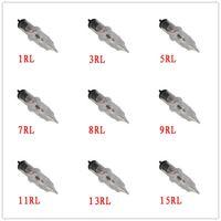 aguja de maquillaje 3rl al por mayor-100pcs 1/3/5/7/8/9/11/13 / 15RL M2 RS F M1 RMPermanent Agujas de maquillaje 3RL Para agujas de cartucho de tatuaje Rotary Swiss Machine Pen