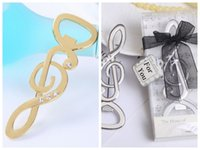 (25 Pieces lot) Silver and Gold Wedding and Party Favors of the music love Bottle Opener Wedding souvenirs For bridal showers