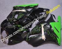 aftermarket kawasaki ninja verkleidungen großhandel-ZX-12R 02 03 04 Verkleidungssatz für Kawasaki ZX12R 2002 2003 2004 Green Flame Aftermarket-Verkleidungen (Spritzguss)