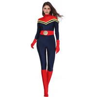 wonder woman costume toptan satış-Film Kaptan Marvel Tulumlar Leotard Deli Gömleği Anime Cosplay Wonder Woman Kostüm Cadılar Bayramı Kostümleri Marvel Comics