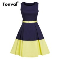 Wholesale blue knee length fitted dresses resale online - Tonval Navy Blue and Yellow Color block Vintage Retro Dress Women Belted Slim Fit Pocket Office Ladies Pleated Cotton Dresses