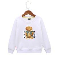 çocuklar beyaz süveter toptan satış-Çocuklar Hoodies 2019 Bahar Isı Satmak Kore Baskı Çocuk giyim Küçük Ayı Beyaz Mektup Erkek T-Shirt Kazak Çocuk Etek Gömlek