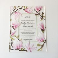 Wholesale wedding cards acrylic for sale - Group buy Beautiful Peach Blossom Water Color Style mm Frosted Acrylic Wedding Invitation Cards Pieces Per