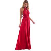 ingrosso lungo vestito chiffon rosso dal progettista-Boho Women Wrap Sexy Maxi Club Red Dress Bandage Long Dress Party Infinity Longue Abiti firmati Femme