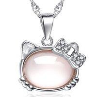 colar de pedra gato venda por atacado-Bonito Olho de Gato Pingente de Pedra Colares de Jóias de Moda Sorte Gato Boêmio Declaração Colar Feminino Elegante Colar de Prata de cor