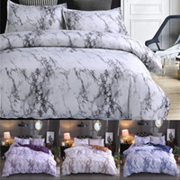 Wholesale blue twin bedding sets resale online - Marble Pattern Bedding Sets Polyester Bedding Cover Set Twin Double Queen Quilt Cover Bed linen No Sheet No Filling