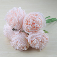 Wholesale peony gifts for sale - Group buy 5 Heads Peony Artificial Flower Christmas Home Decoration Silk Real Touch Peony Fake Flower Wedding Party New Year Gift Floral