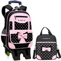 çanta jantlar kızı toptan satış-Çocuk Okul Çantaları Çocuk Seyahat Haddeleme Bagaj Çantası Arabası Okul Sırt Çantası Kız Sırt Çantası Çocuk Kitap Çantası 3 Tekerlekler Schoolbag