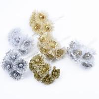 mode für zu hause künstliche blume großhandel-6PCS Künstliche Blumen Gold Silber Weihnachten Neujahr dekorative Blumen nach Hause Wedding Dekoration Zubehör Kranz gefälschte Pflanzen Mode