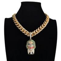 ingrosso collane di clown-Personalità Batman Suit Pendente Joker Micro Pave Cubic Zircone Pietra Pendente Clown oro Collana da uomo Gioielli Hiphop