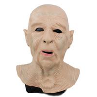 парные маски для мужчин оптовых-Реалистичная Старец Маска Halloween Мужской Head Mask Party Dress Up Люди Face Mask