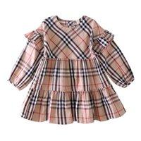 beste baumwoll-lange kleider großhandel-Bestes Verkauf Herbst neue Babys-langärmliges Kleid aus 100% Baumwolle Baby-Plaid Prinzessin Kleid Kinderbekleidung