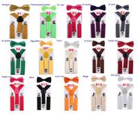 Wholesale pink suspenders belts for sale - Group buy Kids Y Back Elastic Suspenders Children Boy Girls Clip on Elastic Adjustable Belts Bow Tie set OOA7558