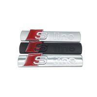pegatina 3d para accesorios coche al por mayor-3D Metal Car S line cubierta de la etiqueta engomada para Audi Sline Logo A3 A4 A5 A6 Q3 Q5 Q7 B7 B8 C5 S6 Auto coche calcomanía accesorios buena calidad
