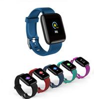 telefones inteligentes de tela grande venda por atacado-116 plus smart watch cor da tela de toque smart watch pulseira heart rate grande tela de pressão arterial sono para ios sistema android