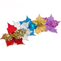 Wholesale artificial trees home decor for sale - Group buy 5pcs Elegant Cuttings Artificial Sequins Flowers Glitter Poinsettia Home Ornaments Festivals Christmas Tree Decor Party Supplies