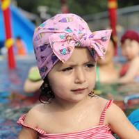 tampas de natação impressas venda por atacado-New design baby girl Tampas de Natação de algodão floral impresso arco-nó elástico touca de banho Babys Tampas de Natação