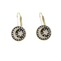 Wholesale engraving brass resale online - Fashion top quality Coin Pendant Engraving Star Moon Earrings for women girl Micro paved White CZ chic Jewelry gift in gold