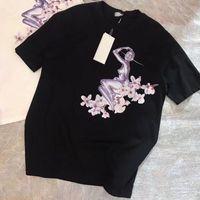 femmes fleurs de cerisier achat en gros de-19SS Volant Déesse Fleur De Cerisier Tee Avec Manches Courtes Robot D'impression Hommes Femmes D'été Tee Respirant De Luxe T-shirt Court