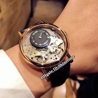 erkekler siyah iskelet mekanik saat toptan satış-Yeni 42mm Gelenek 7057BB / R9 / 9W6 Siyah İskelet Dial Çift Tourbillon Otomatik Mekanik Mens Watch Gül Altın Vaka Deri Kayış Saatler