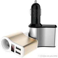 12v voltmeter für auto großhandel-3.1A Dual USB 12 V 24 V Auto Ladegerät Adapter Zigarettenanzünder LED Digital Voltmeter Amperemeter Monitor