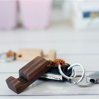 Wholesale wood key chains for sale - Group buy hot Wood Keychain Phone Holder Rectangle Wooden Key Ring Cell Phone Stand Base Best Gift Key Chain styles Fashion AccessoriesT2C5133