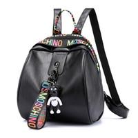 lindas mochilas para la universidad al por mayor-Mochila para mujer Bolso escolar de cuero de la PU Estilo casual para mujer Oso lindo Mochilas Adolescentes Universitarias estudiante bolsa ocasional 6873