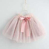 bale giysileri kız toptan satış-2019 yeni Moda Kızlar Etekler glisten yaylar Tutu Etekler çocuklar Bale Tutu Etek prenses kız elbise Yaz çocuklar giysi tasarımcısı A4524