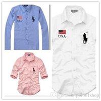 camisetas oxford al por mayor-Nueva moda pequeño caballo Oxford camisas de los hombres de manga larga para hombre camisas de vestir de alta calidad para hombre de negocios camisas polo Chemise Homme camiseta