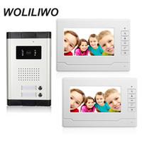 kits de campainha com fio venda por atacado-7''Wired Video Porteiro Interfone Com Câmera de Visão Noturna, Dual-way Intercom Doorbell Kits Para 2 Apartamento