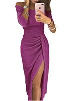 damas vestidos cuello diseño al por mayor-Vestidos de fiesta damas espumoso de Split Diseño delgado del club del vendaje vestido de la envoltura de la raya vertical del cuello de Bodycon vestidos largos vestidos de noche de color sólido