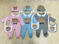 Wholesale boys long clothes resale online - Newborn Fashion Baby Clothes set Cute Infant Baby Boys Letter Romper baby girl bibs Cap Outfits Set