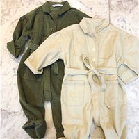Wholesale toddler girl summer overalls resale online - Fall INS New Toddler Baby Boys Jumpsuits Blank Green Belt Long Sleeve Autumn Organic Tatting Cotton Newborn Overalls Girls Rompers Onesies